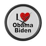 I Love Obama Biden Large Wall Clock