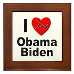 I Love Obama Biden Framed Tile