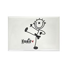 Stick Figure Karate Rectangle Magnet