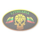 Lithuania Basketball Oval Bumper Stickers