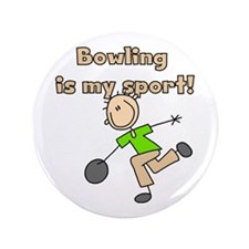 "Stick Figure Bowling 3.5"" Button"