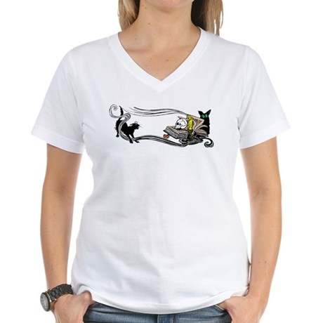 Spooky Black Cat and Skull Women's V-Neck T-Shirt
