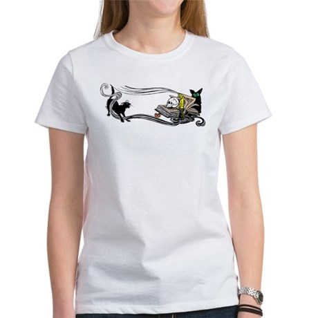 Spooky Black Cat and Skull Women's T-Shirt