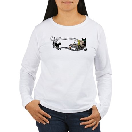 Spooky Black Cat and Skull Women's Long Sleeve T-S