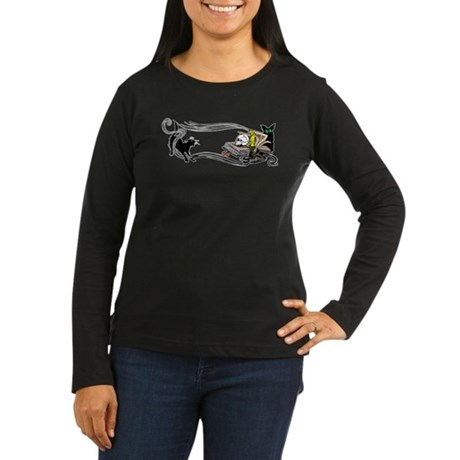Spooky Black Cat and Skull Women's Long Sleeve Dar