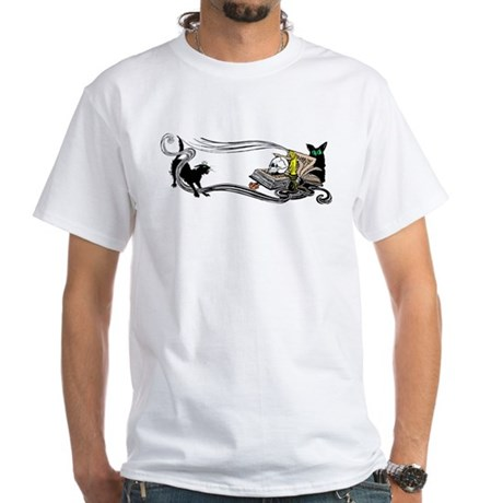 Spooky Black Cat and Skull White T-Shirt