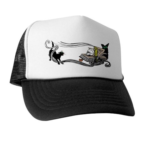 Spooky Black Cat and Skull Trucker Hat