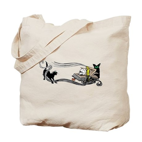Spooky Black Cat and Skull Tote Bag