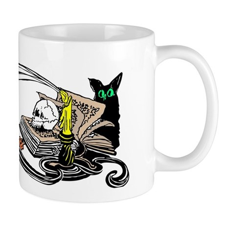 Spooky Black Cat and Skull Mug
