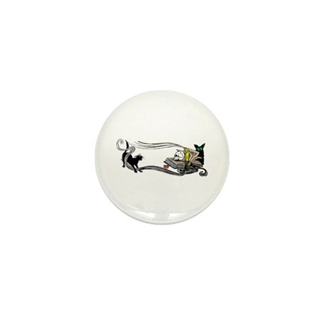 Spooky Black Cat and Skull Mini Button