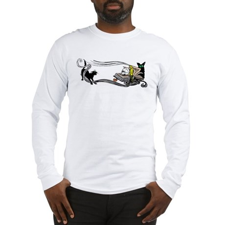 Spooky Black Cat and Skull Long Sleeve T-Shirt