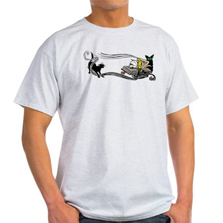 Spooky Black Cat and Skull Light T-Shirt