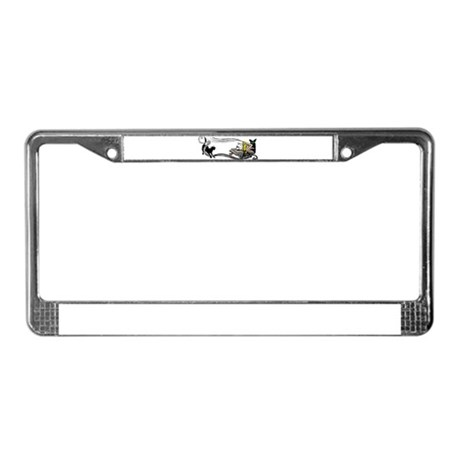 Spooky Black Cat and Skull License Plate Frame