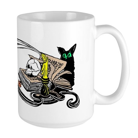 Spooky Black Cat and Skull Large Mug