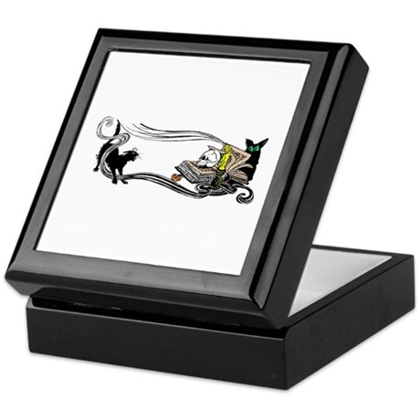 Spooky Black Cat and Skull Keepsake Box