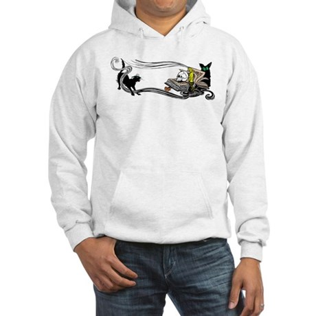 Spooky Black Cat and Skull Hooded Sweatshirt