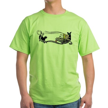 Spooky Black Cat and Skull Green T-Shirt