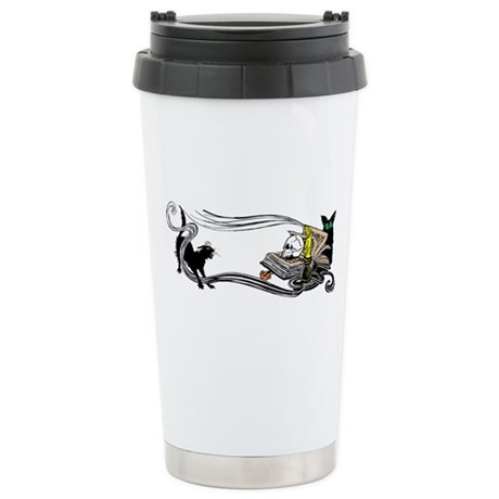 Spooky Black Cat and Skull Ceramic Travel Mug