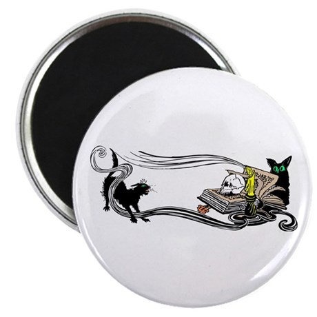 "Spooky Black Cat and Skull 2.25"" Magnet (10 pack)"