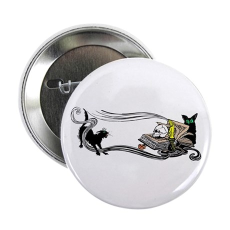 "Spooky Black Cat and Skull 2.25"" Button (10 pack)"