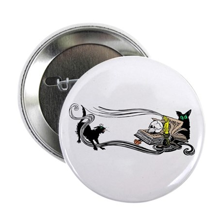 "Spooky Black Cat and Skull 2.25"" Button"