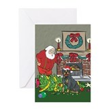 Santa's Helper Rottweiler Greeting Card