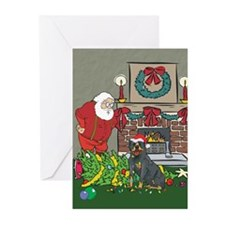 Santa's Helper Rottweiler Greeting Cards (Pk of 20