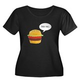 Bite Me Burger Women's Plus Size Scoop Neck Dark T