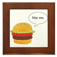 Bite Me Burger Framed Tile