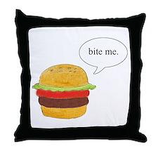 Bite Me Burger Throw Pillow