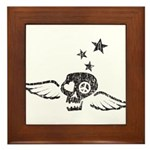 Peace & Love Skull with Wings Framed Tile