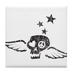 Peace & Love Skull with Wings Tile Coaster