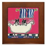 Boston Terriers in Bath Tub Framed Tile