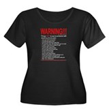 Pain Warning Women's Plus Size Scoop Neck Dark T-S