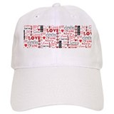 Love WordsHearts Baseball Cap