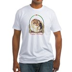 Pomeranian Pom Holiday Fitted T-Shirt