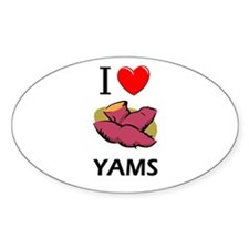 I Love Yams Oval Decal