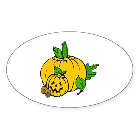 Jack 0 Lantern Oval Sticker (10 pk)