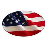 American Flag Oval Euro Stickers