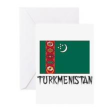 Turkmenistan Flag Greeting Cards (Pk of 10)