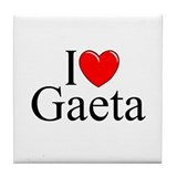 """I Love (Heart) Gaeta"" Tile Coaster"