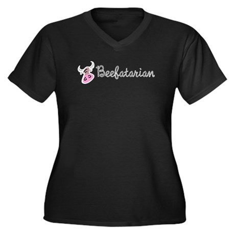 Beefatarian Women's Plus Size V-Neck Dark T-Shirt