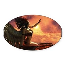 Sexy woman Angel Oval Decal