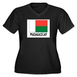 Madagascar Flag Women's Plus Size V-Neck Dark T-Sh