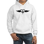 Heart Peace Wing in Black Hooded Sweatshirt