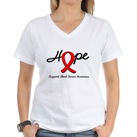 Blood Cancer Hope Women's V-Neck T-Shirt