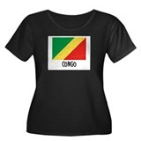 Congo Flag Women's Plus Size Scoop Neck Dark T-Shi