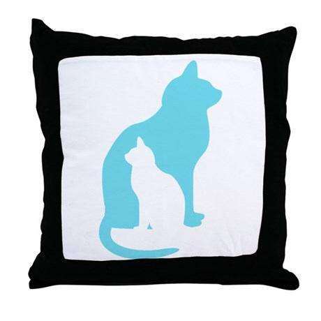 Feline Silhouettes Throw Pillow