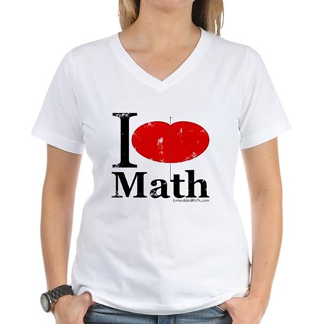 I Love Math Women's V-Neck T-Shirt