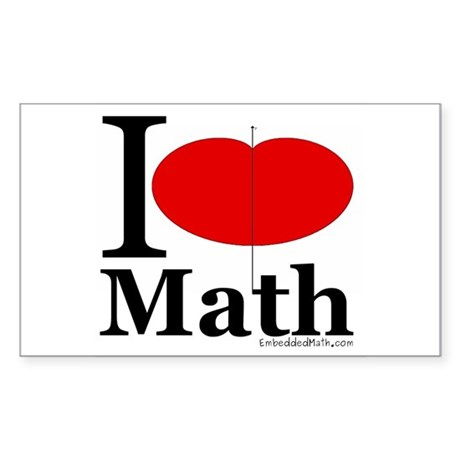 I Love Math Rectangle Sticker